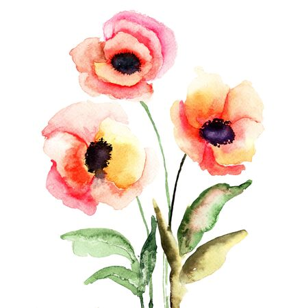 Colorful flowers, watercolor illustration  illustration