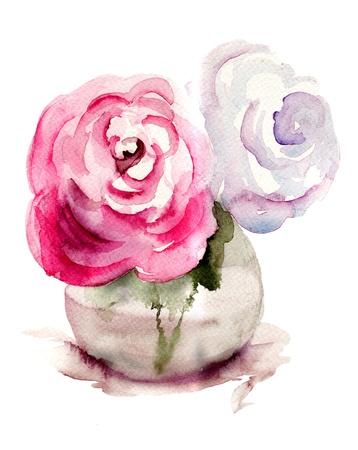 vase: Roses flowers, watercolor illustration