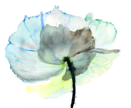 watercolor blue: Stylized  flower illustration