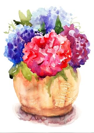 Beautiful Hydrangea in vase, watercolor illustration Stock Photo