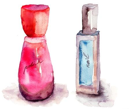 stylishness: Coloured nail polish bottles, watercolor painting Stock Photo