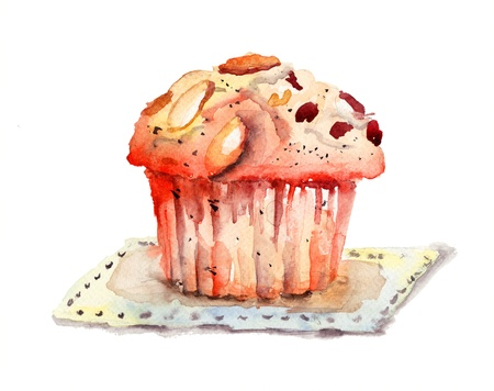 Chocolate cake, watercolor illustration
