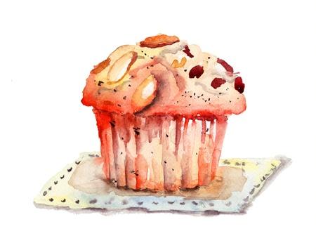 dessert muffin: Chocolate cake, watercolor illustration
