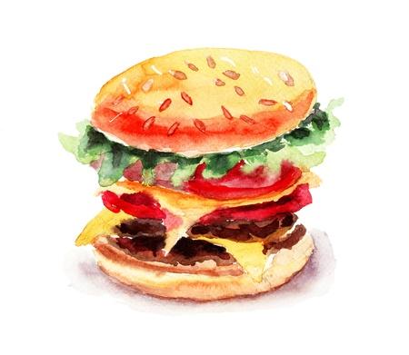 fastfood: Watercolor illustration of Hamburger