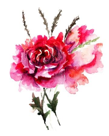 Peonies flowers, Watercolor painting