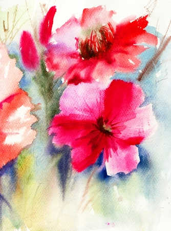 Colorful Red flowers, watercolor painting Stock Photo