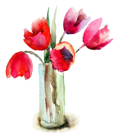 Beautiful Red Tulips flowers, Watercolor painting