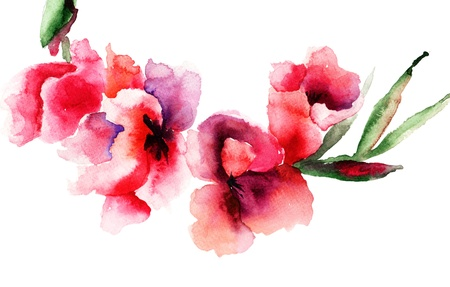 Stylized Gladiolus flowers, Watercolor painting  Stock Photo