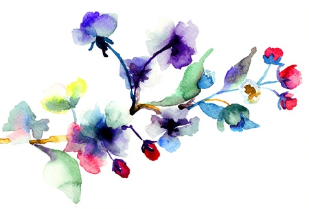watercolor blue: Blossoming tree brunch, watercolor illustration