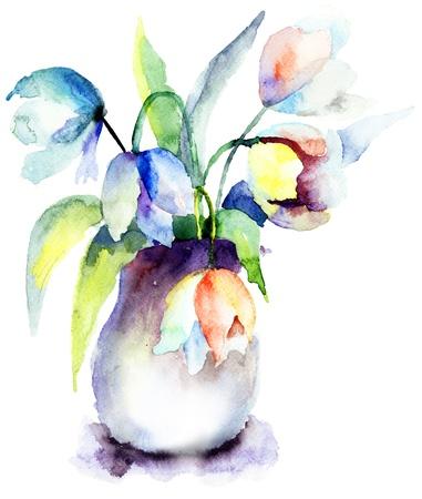 tulips in vase: Beautiful Blue Tulips flowers, Watercolor painting