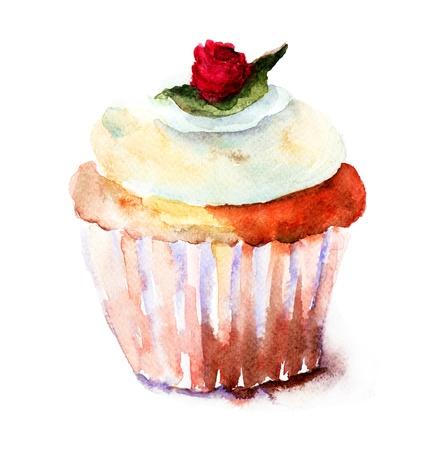 magdalenas: Muffin, ilustraci�n acuarela Foto de archivo