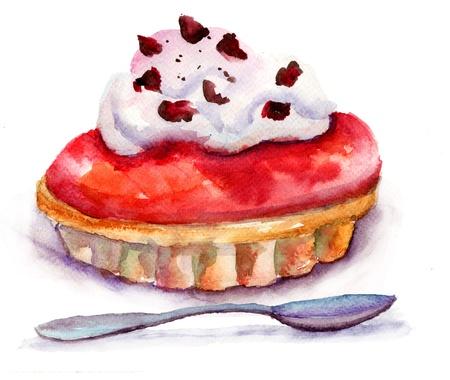 custard flavor: Watercolor illustration of cake