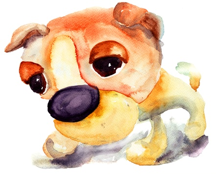 sit stay: Watercolor illustration of a cartoon dog