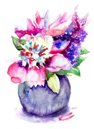 Beautiful Peony flowers, Watercolor painting Stock Photo - 19063947