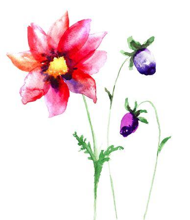 sumer: Beautiful Sumer flowers, Watercolor painting