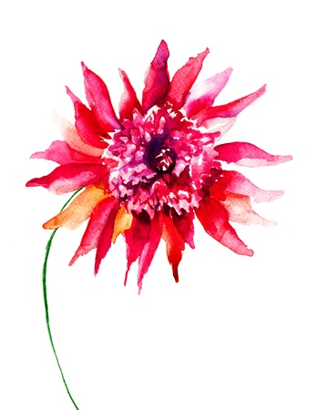 Mooie roze bloem, schilderen van de waterverf