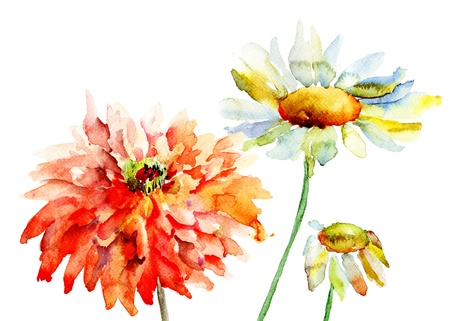 Beautiful decorative flowers, watercolor illustration