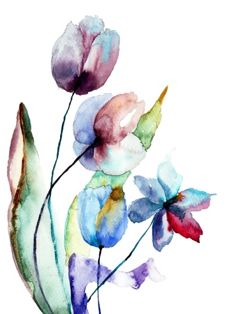 Gestileerde bloemen, aquarel illustratie Stockfoto