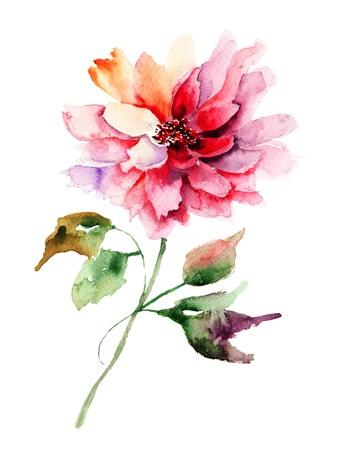 paintings: Beautiful Peony flower, Watercolor painting