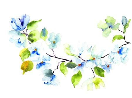Bloeiende boom brunch, aquarel illustratie