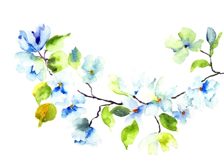 Blossoming tree brunch, watercolor illustration  Stock Photo