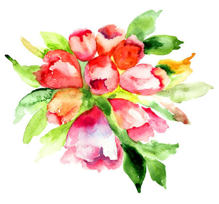 azalea: Rhododendron flower, Watercolor painting  Stock Photo