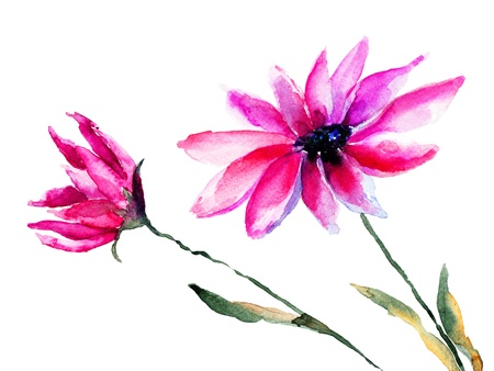 Beautiful colorful flowers, Watercolor painting