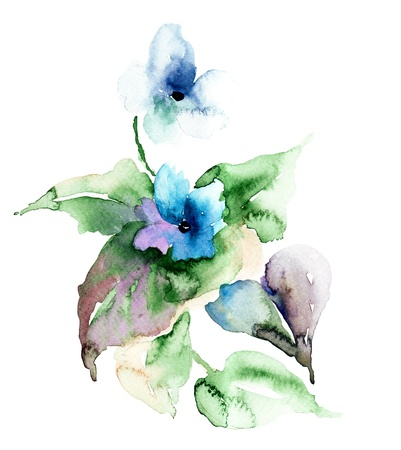 Watercolor illustration of Violet flowers illustration