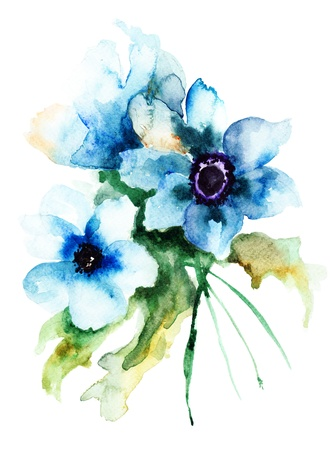 watercolor flower: Summer blue flowers, watercolor illustration  Stock Photo