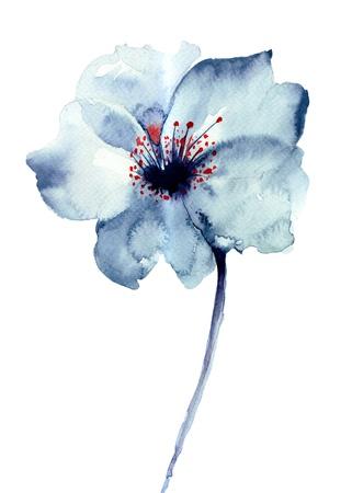 장식 푸른 꽃, 수채화 그림