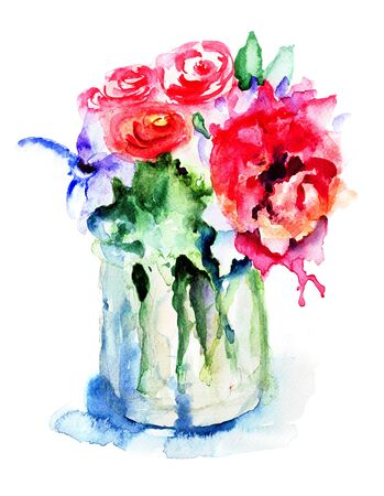 Beautiful flowers in vase, watercolor illustration  illustration