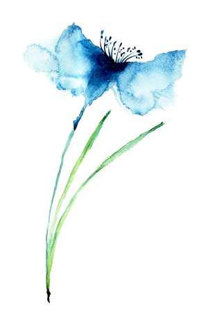 Blue Colored Cornflowers, watercolor illustration