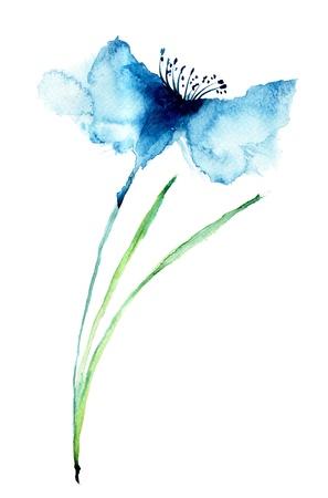 arreglo floral: Cornflowers color azul, ilustraci�n acuarela Foto de archivo