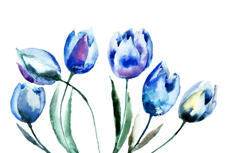 early spring: Spring flowers watercolor illustration  Stock Photo