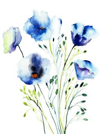 Decorative blue flowers, watercolor illustration  illustration
