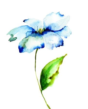 Decorative blue flower, watercolor illustration Stock fotó