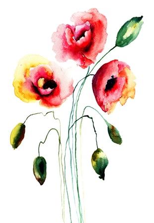 Poppy flowers, watercolor illustration  illustration