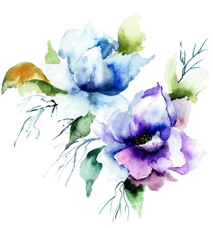 aquarelle: Belle fleur bleue, peinture aquarelle