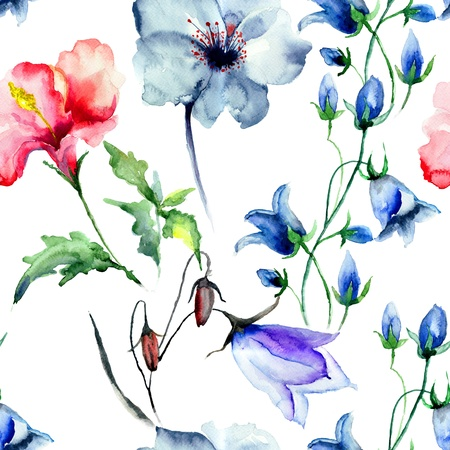 Seamless wallpaper with wild flowers, watercolor illustration Archivio Fotografico