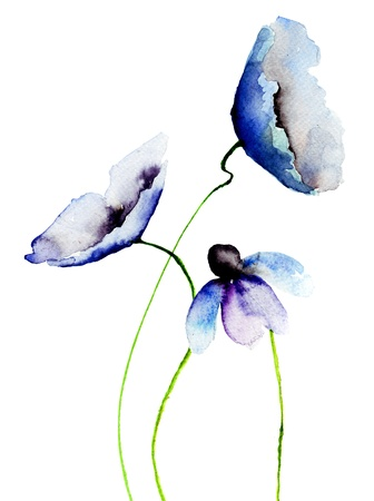 Beautiful Blue flowers, Watercolor painting  Stock Photo