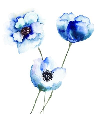 Mooie blauwe bloemen, schilderen van de waterverf