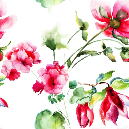 garden wall: Seamless wallpaper with Geranium and Peony flowers, watercolor illustration
