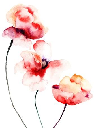 Papaver bloemen, aquarel illustratie