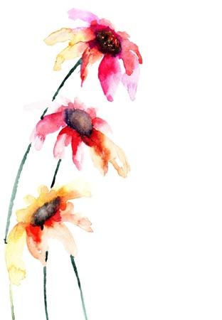 Prachtige kleurrijke bloemen, schilderen van de waterverf