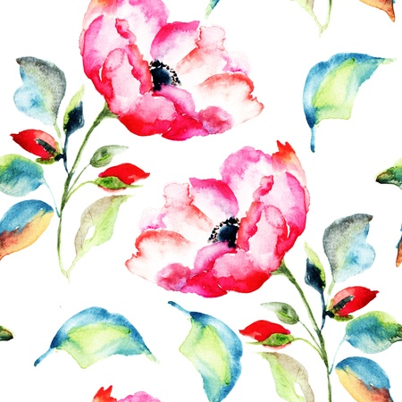 Rosehip Flower,  Watercolor painting, seamless pattern photo