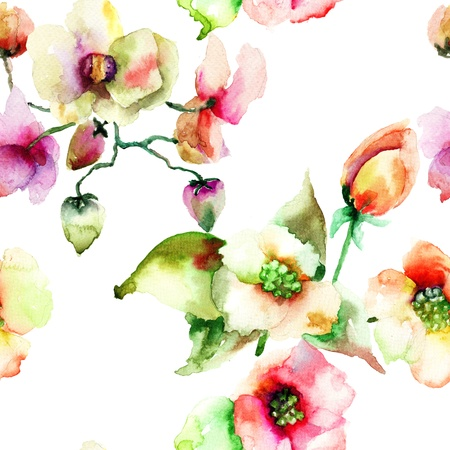Seamless wallpaper of Colorful Summer flowers, watercolor painting
