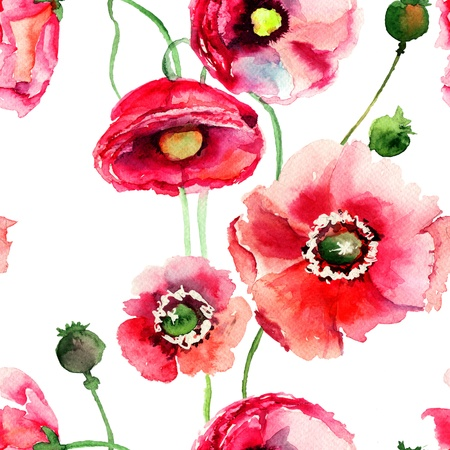 watercolor paper: Stylized Poppy flowers illustration, seamless wallpaper