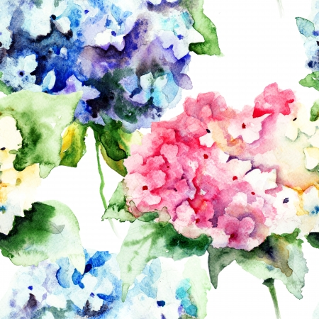 Seamless pattern with Beautiful Hydrangea blue flowers, watercolor illustration