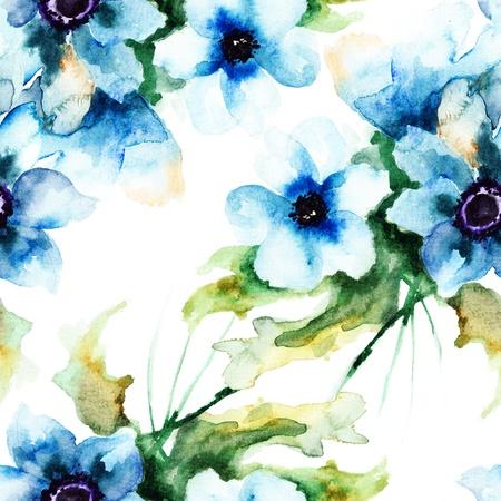 여름 푸른 꽃과 원활한 벽지, 수채화 그림