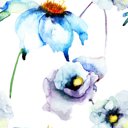 Colorful watercolor illustration with summer flower, seamless wallpaper illustration